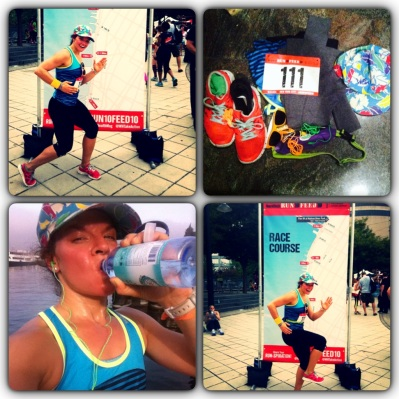 A few pics from the race. My gear all gathered in one place the morning of, downing some water immediately post race, and a few posed pics in front of the race course.